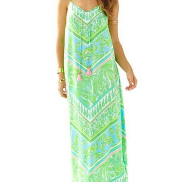 Lily Pulitzer maxi dress in green & white S